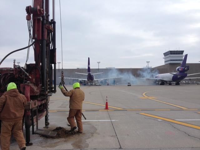 CTL takes pavement cores and soil borings for an apron rehabilitation at the Indianapolis International Airport. Geotechnical engineering is one of several services CTL offers to the aviation industry.